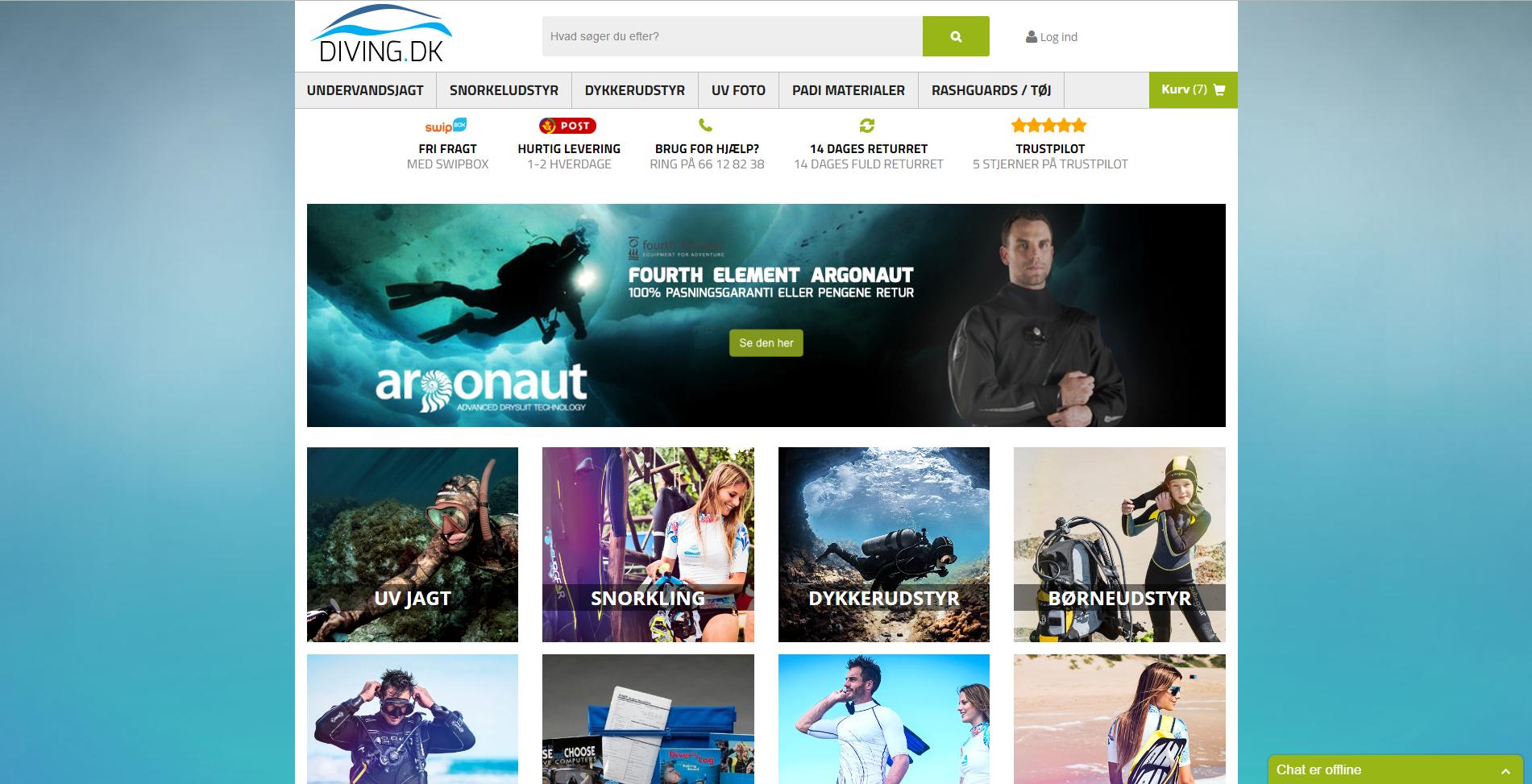 Website selling scuba gear.