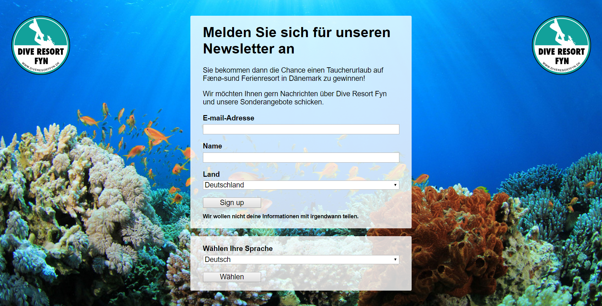 Create a trilingual signup form for a newsletter - made for BOOT.DE 2017
