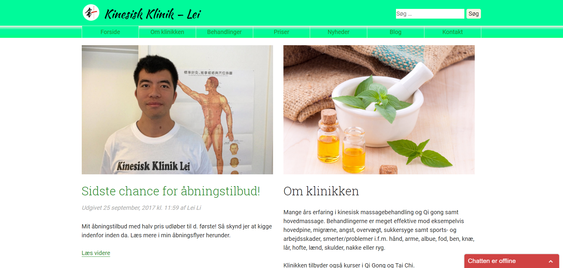A website with chat function for a small, new, Chinese massage clinic.