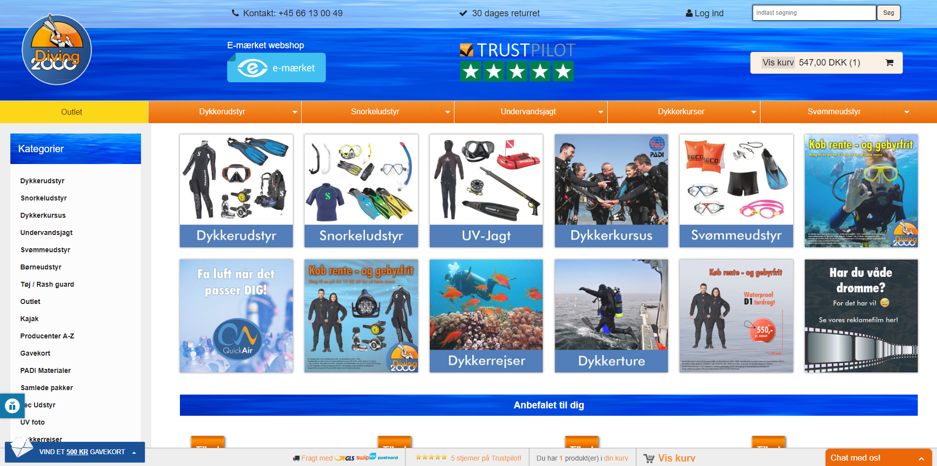 Webshop selling scuba gear as well as snorkeling - and swimgear, courses and trips.